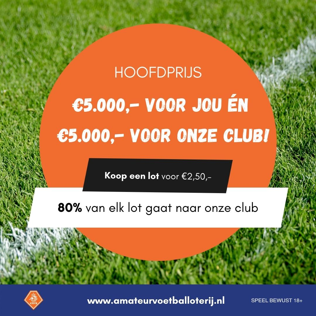 Laatste kans! Doe mee met de Amateurvoetbal Loterij en verdien geld voor onze club!